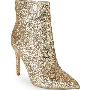 Shoes - Gold Glitter Ankle Booties